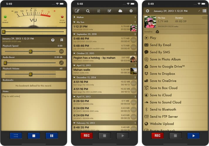 Скриншот приложения Voice Record Pro для iPhone и iPad