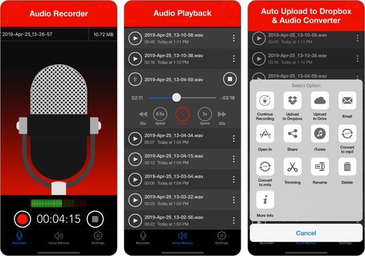 Диктофон - Скриншот приложения для записи звука для iPhone и iPad