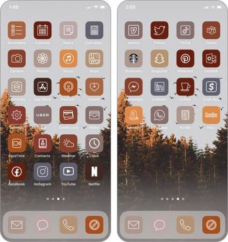 Осенний эстетический пакет значков приложений для iphone и ipad