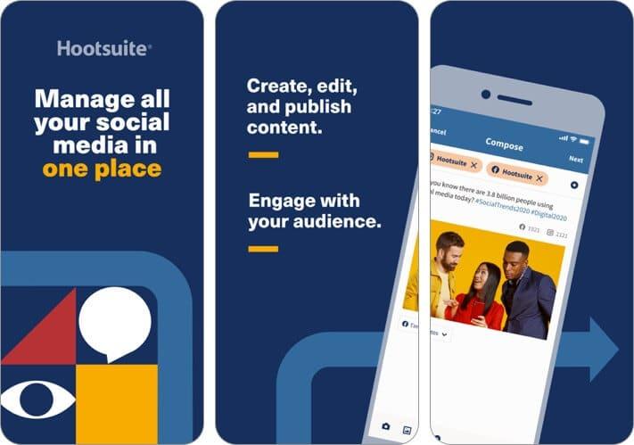 скриншот приложения для iphone в социальных сетях hootsuite