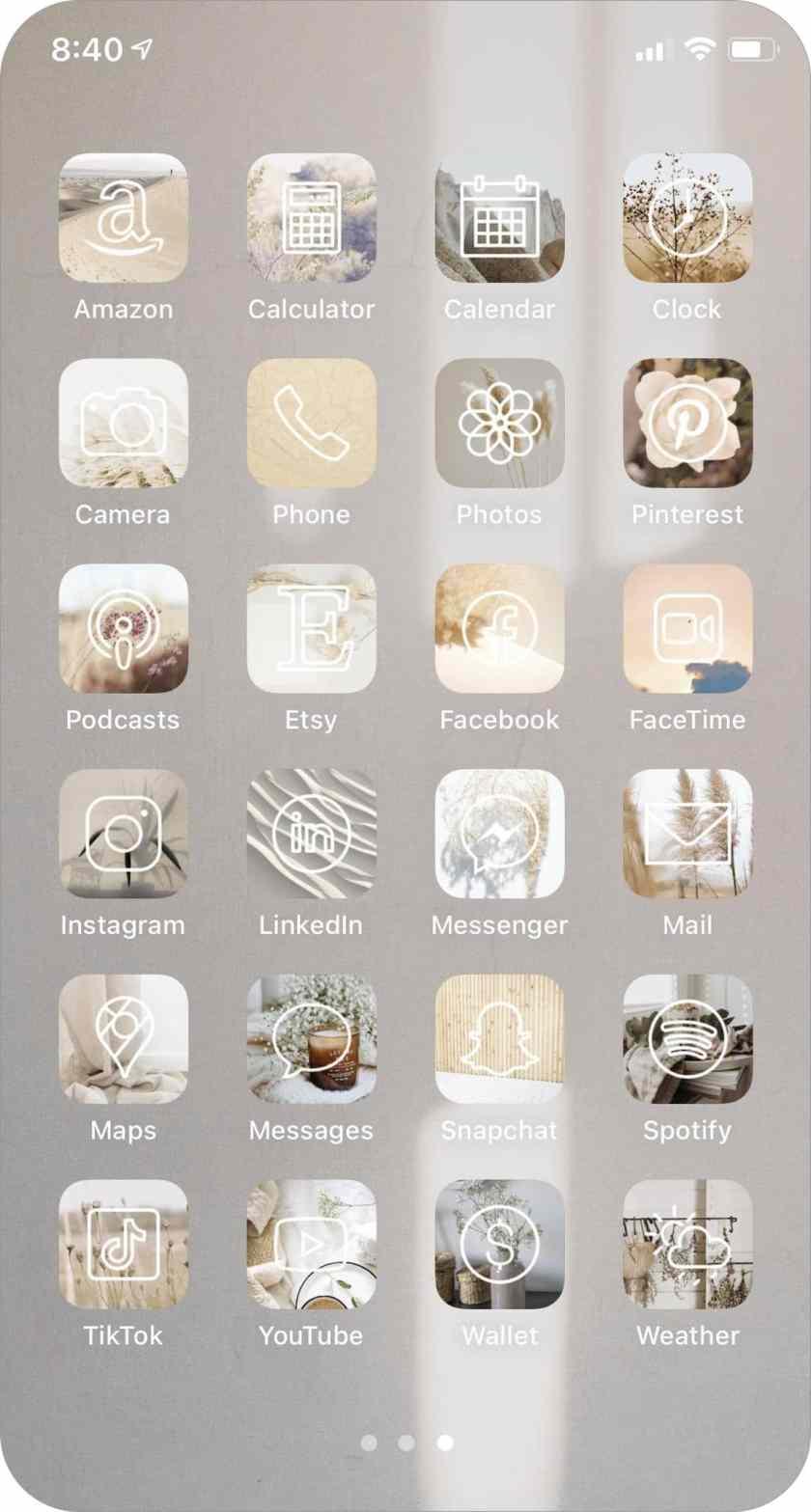 набор иконок приложений в нейтральных тонах для iphone и ipad