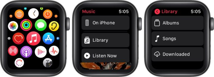 нажмите на музыкальное приложение в моих часах нажмите, затем смахните влево по элементу и нажмите удалить в приложении для часов на iphone