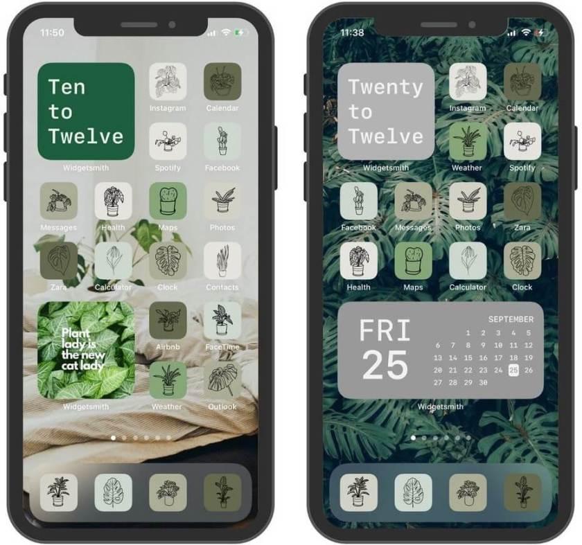 набор значков приложений для темы растений для iphone и ipad
