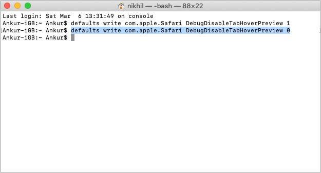 Повторно включить предварительный просмотр вкладки Safari в macOS