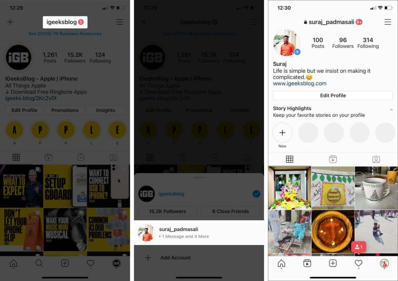 нажмите на имя профиля и выберите другую учетную запись, чтобы переключаться между несколькими учетными записями Instagram на iphone
