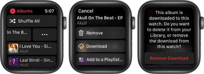 нажмите на три точки и нажмите «Удалить», чтобы удалить музыку, чтобы освободить место на Apple Watch