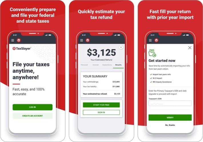 Taxslayer iphone и ipad бесплатный снимок экрана налогового приложения