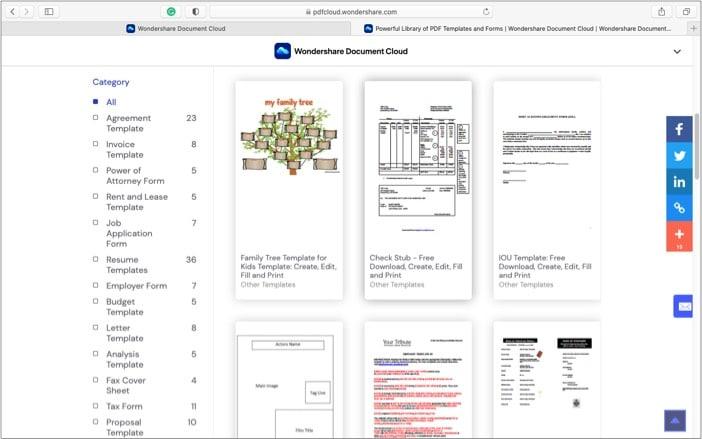 Создавайте и сохраняйте настраиваемые шаблоны в Wondershare Document Cloud