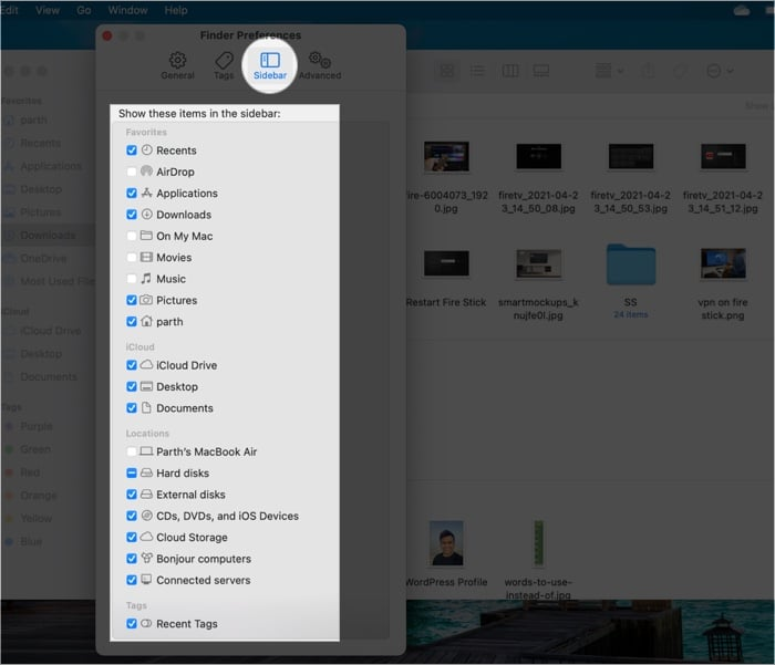 Включение или отключение элементов, которые вы хотите добавить или удалить с боковой панели на Mac