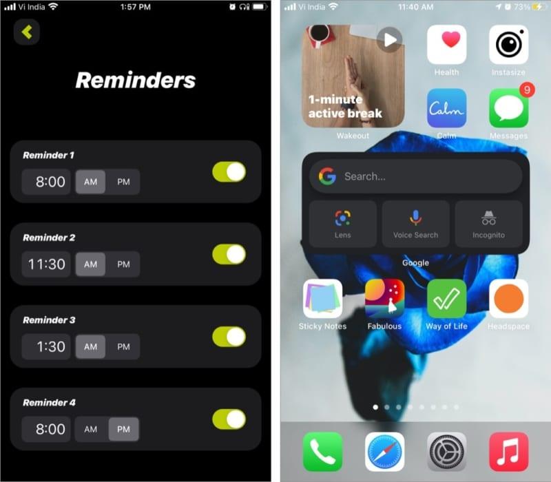 Функция напоминаний в приложении Wakeout для iOS