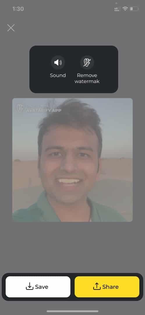 Сохраняйте и делитесь созданным видео на Avatarify с iPhone