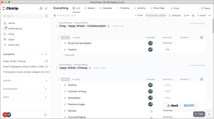 Управление задачами и временем в приложении ClickUp для iPhone