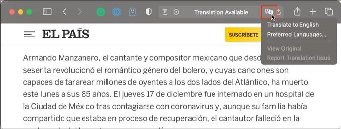 Используйте встроенный перевод в Safari в macOS big sur