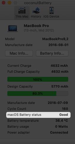 Используйте приложение coconutBattery, чтобы проверить состояние батареи Mac