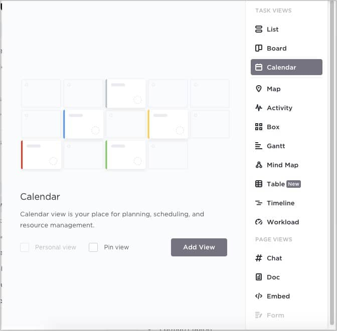 Просмотр страниц, таких как список, интеллектуальная карта в приложении ClickUp для iOS