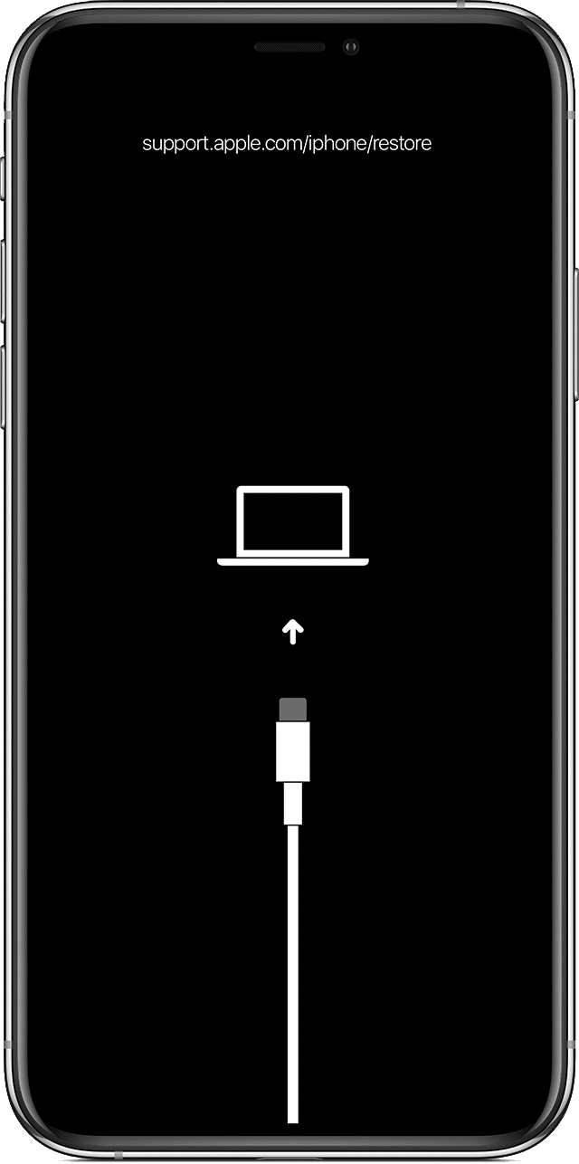 Schwarzer iPhone-Wiederherstellungsmodus-Bildschirm mit einem Kabel, das auf einen Laptop zeigt