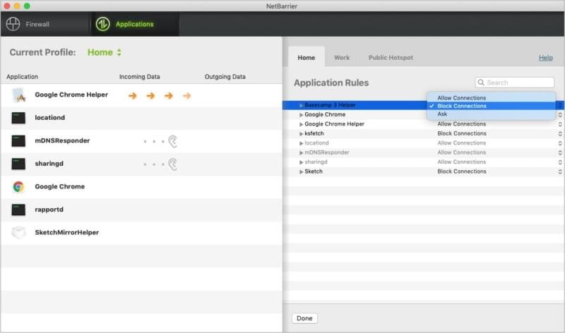 Блокировать подключение определенных приложений с помощью NetBarrier X9