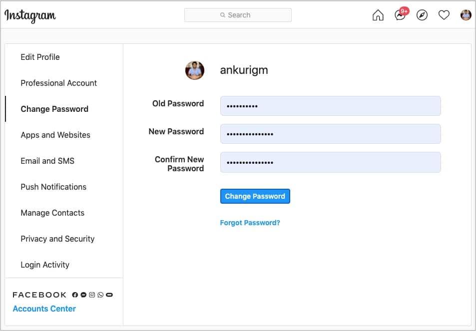 Изменить пароль Instagram с помощью компьютера