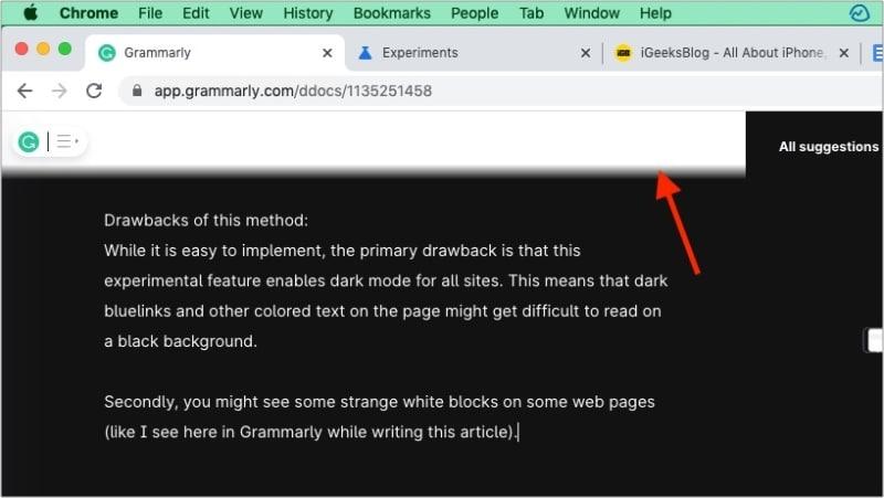 Недостатки экспериментальной функции темного режима Chrome
