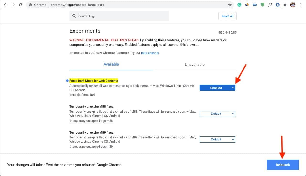 Включить принудительный темный режим для веб-содержимого и перезапустить Chrome