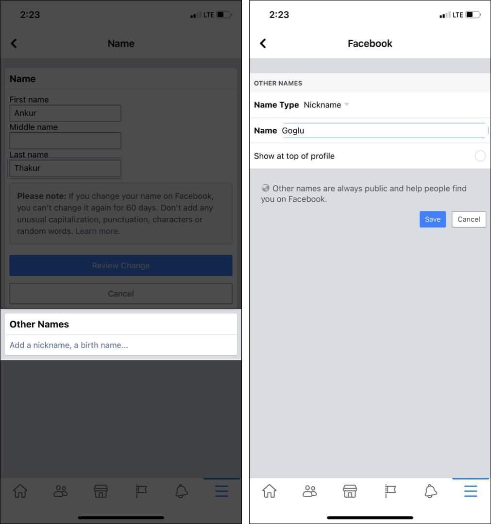 Как добавить другое имя или псевдоним в учетную запись Facebook