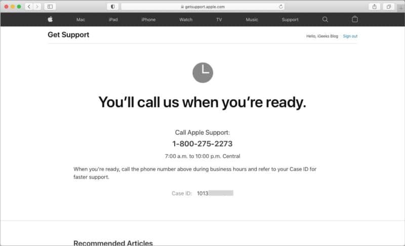 So rufen Sie den Apple Support an oder erhalten einen Rückruf von ihm