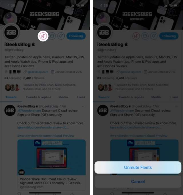 How to unmute Fleets on Twitter from specific users
