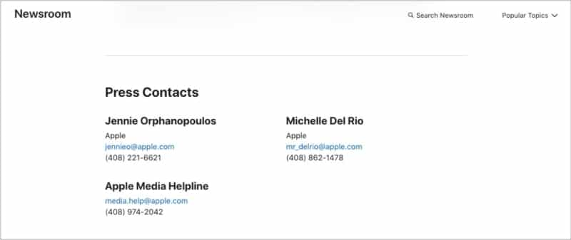 Medien- oder Pressekontaktnummern aus dem Apple Newsroom