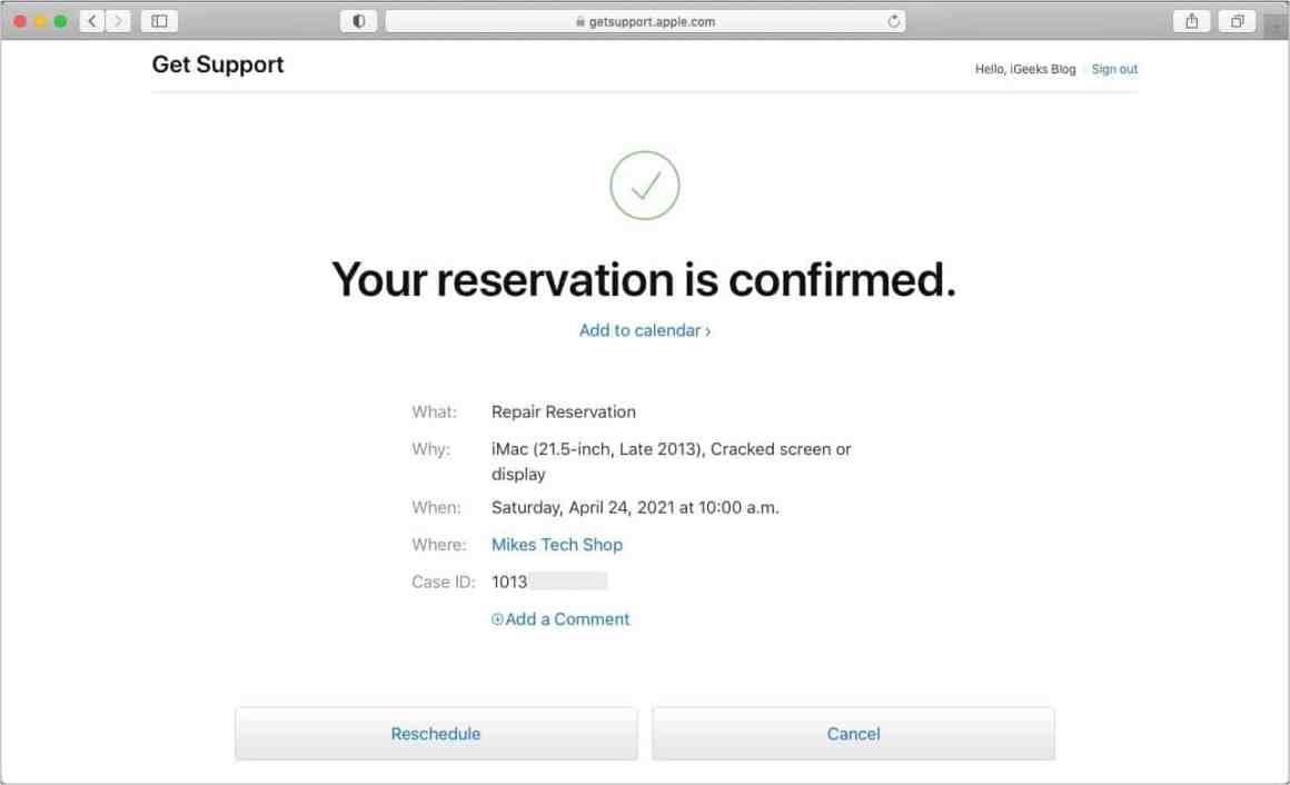 Reservierung im Apple Store bestätigt