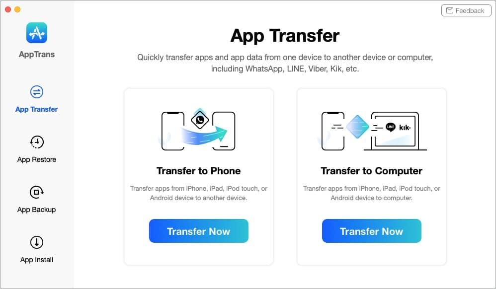 Перенос приложений и их данных на другой телефон или компьютер с помощью AppTrans