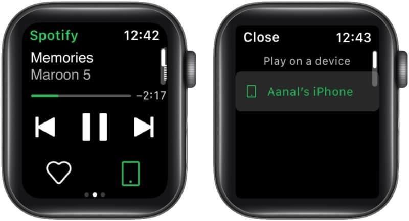 Как использовать Spotify Connect на Apple Watch для управления воспроизведением