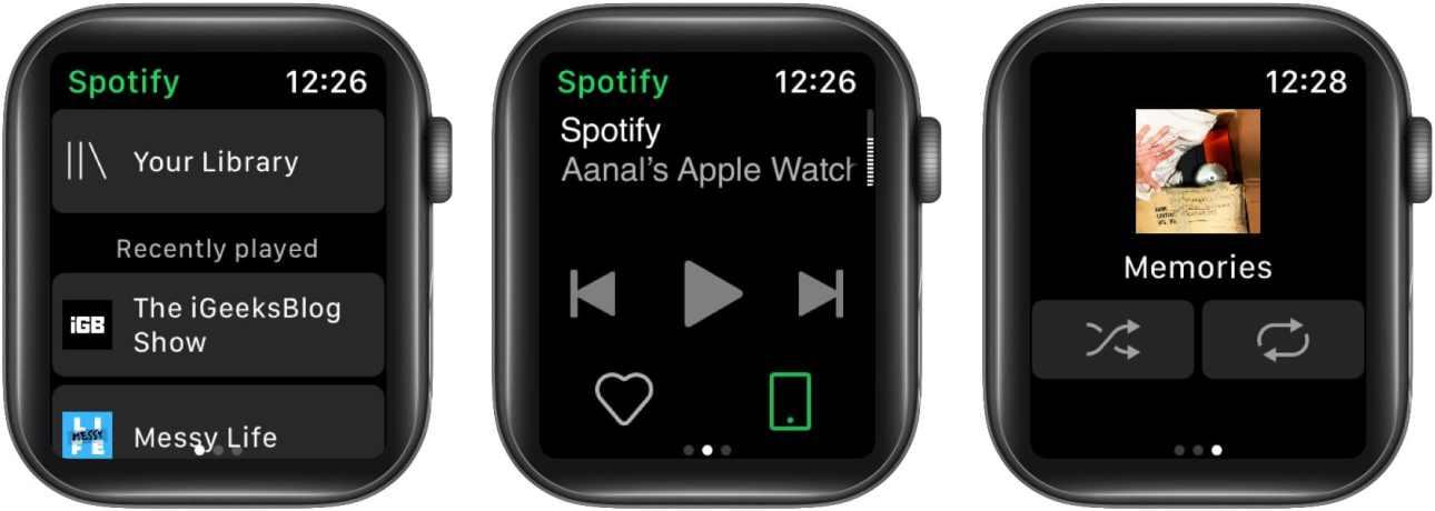 Главный экран Spotify на Apple Watch