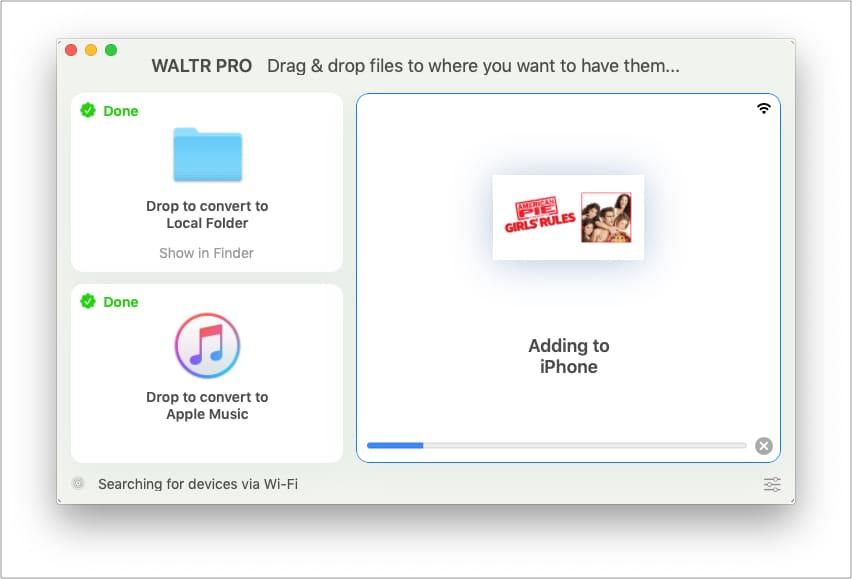 После конвертации WALTR PRO добавляем файл на iPhone