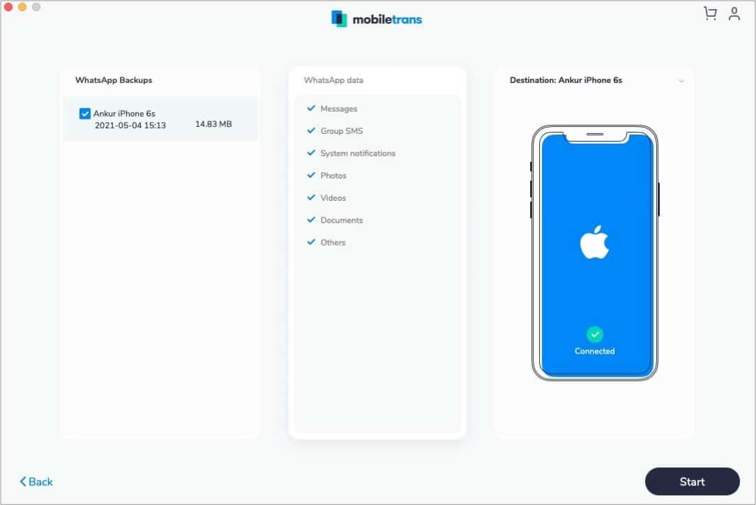 Восстановите резервную копию WhatsApp на любой телефон с помощью MobileTrans