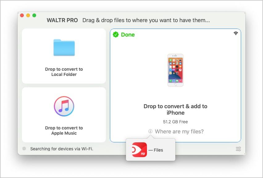 Посмотрите, куда был добавлен файл на iPhone