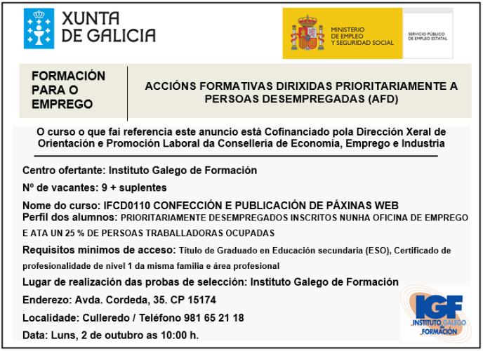 Certificado IFCD0110 - Instituto Galego de Formación