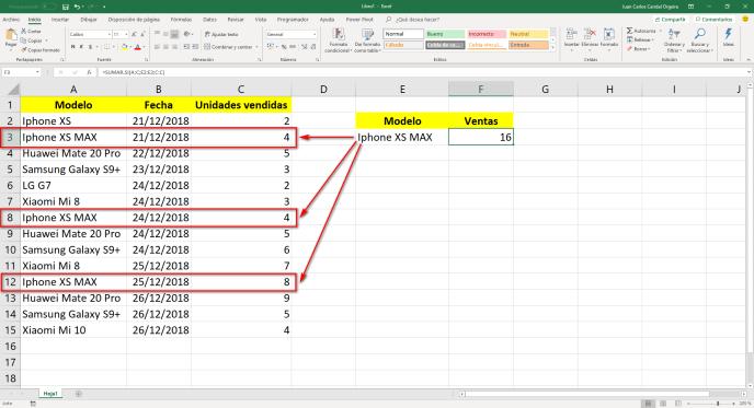 función sumar.si de Excel  2 - Instituto Galego de Formación
