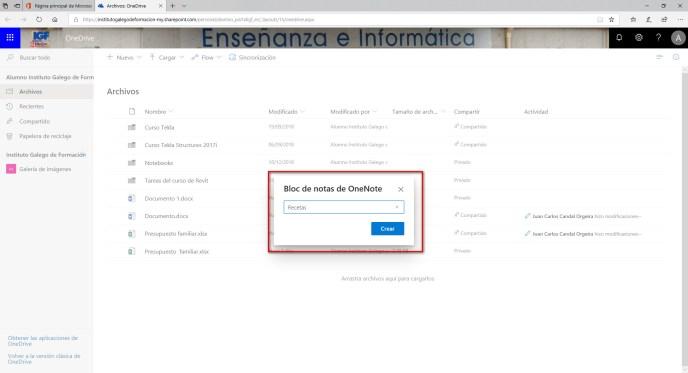 Nombre bloc de notas - Instituto Galego de Formación