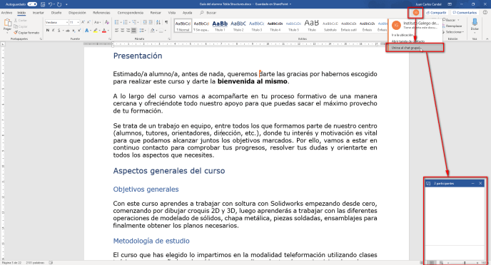 Iniciar chat en Word PC - Instituto Galego de Formación