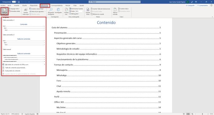 Insertar una tabla de contenido en un documento de Word - Instituto Galego de Formación