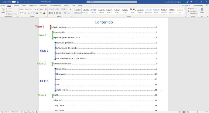 Insertar una tabla de contenido en documentos en Word - Instituto Galego de Formación