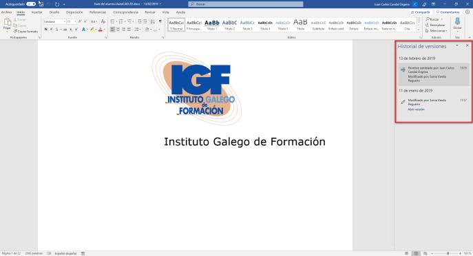Lista historial de versiones en Word - Instituto Galego de Formación