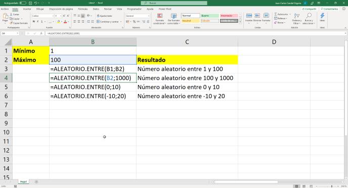 Función ALEATORIO.ENTRE de Excel - Instituto Galego de Formación