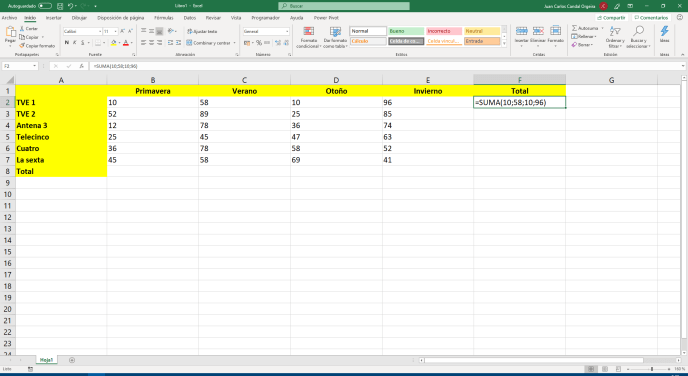 Función SUMA de Excel con valores - Instituto Galego de Formación