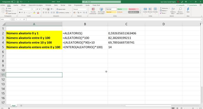 Función aleatorio() entre dos números de Excel - Instituto Galego de Formación