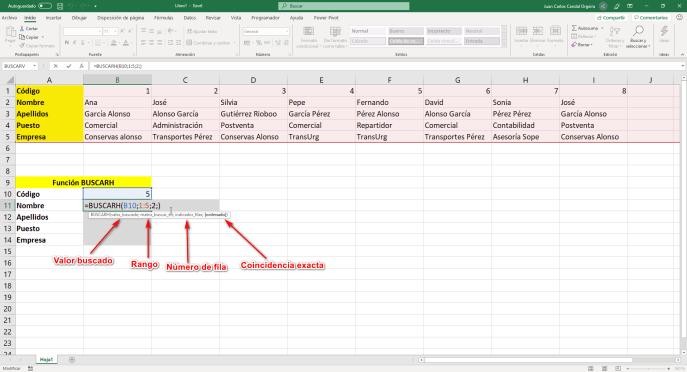 Función buscarh de Excel - Instituto Galego de Formación