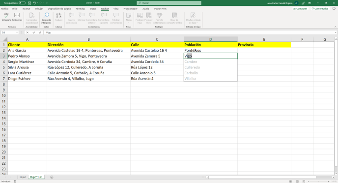 Relleno rápido en Excel paso 5 - Instituto Galego de Formación