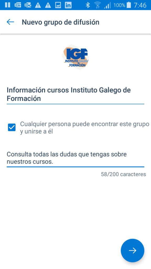Crear un grupo de difusión en Kaizala cursos - Instituto Galego de Formación