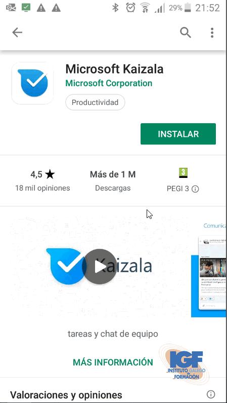 Instalación de Microsoft Kaizala - Instituto Galego de Formación