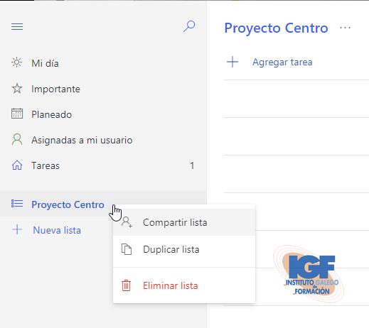 Compartir listas en To-Do - Instituto Galego de Formación